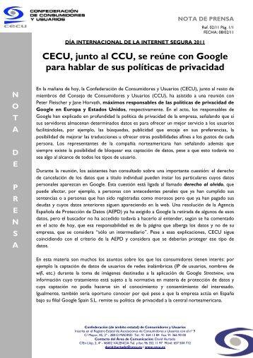 CECU, junto al CCU, se reúne con Google para hablar de sus ...