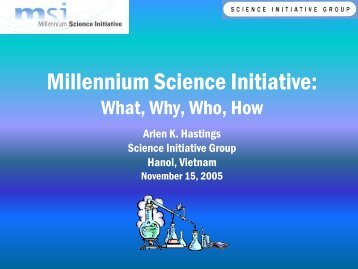 The Science Institutes Group and the Millennium Science Initiative