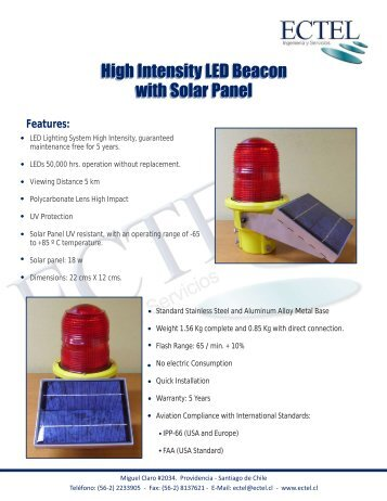 High Intensity LED Beacon with Solar Panel High Intensity ... - Ectel