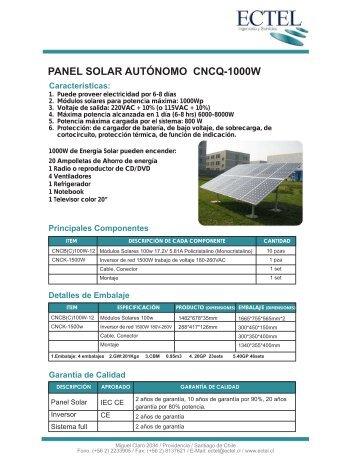 PANEL SOLAR AUTÓNOMO CNCQ-1000W - Ectel