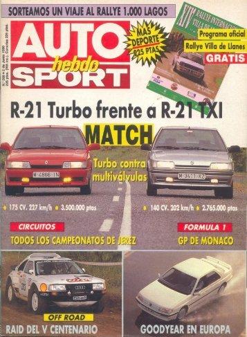 Auto Hebdo Sport Nº268 2 Junio 1990 - Renault 21