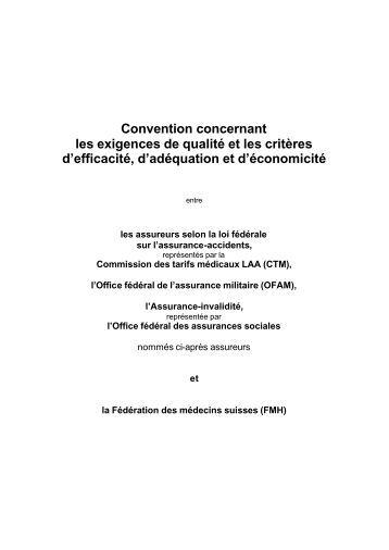 Convention concernant les exigences de qualité et les critères d ...