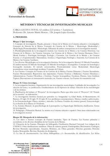 MÉTODOS Y TÉCNICAS DE INVESTIGACIÓN MUSICALES