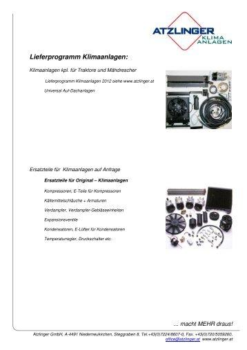Lieferprogramm Klimaanlagen: - Atzlinger GesmbH
