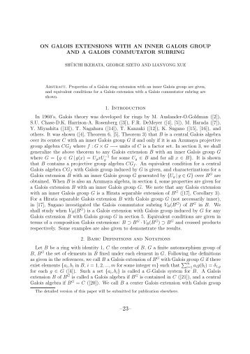 ON GALOIS EXTENSIONS WITH AN INNER GALOIS GROUP ... - FUJI