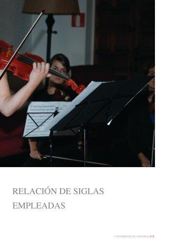 RELACIÓN DE SIGLAS EMPLEADAS - Universidad de Granada