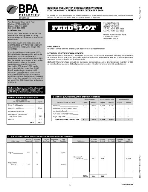 business publication circulation statement for ... - Feedlot Magazine