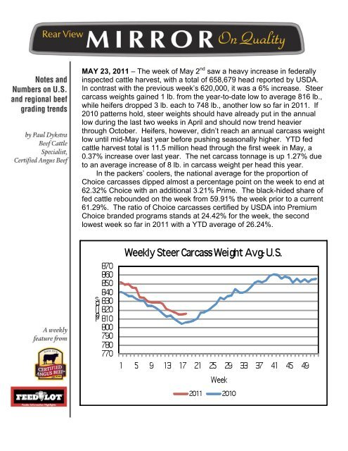 MAY 23, 2011 – The week of May 2nd saw a ... - Feedlot Magazine