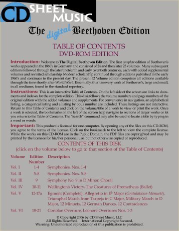 The Digital Beethoven Edition - CD Sheet Music
