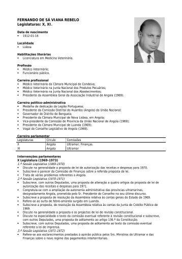 FERNANDO DE SÁ VIANA REBELO Legislaturas: X, XI.