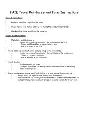 FAIE Travel Reimbursement Form Instructions