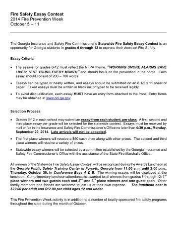 "fire safety essay contest fire prevention week ae""  fire safety essay contest office of insurance and safety fire"