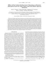 Effect of the Carbon Surface Layer Chemistry on Benzene ...