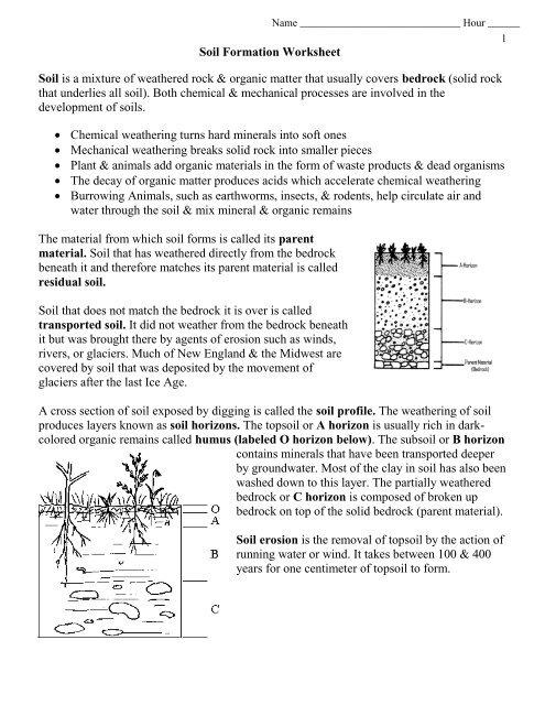 Soil Formation Worksheet.pdf - EnvGeology