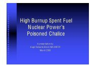 High Burnup Spent Fuel Nuclear Power's Poisoned Chalice