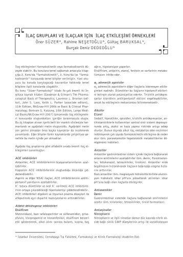 İlaç Grupları ve İlaçlar İçin İlaç Etkileşimi Örnekleri