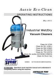 Manual - Wet/dry vacs 30-200 litres - Aussie Pumps