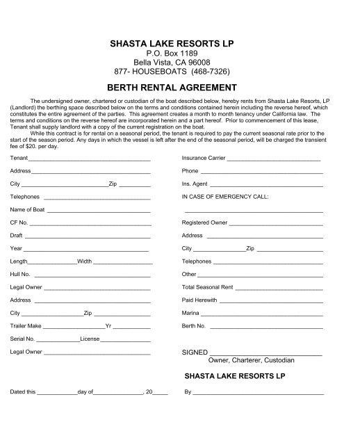 Shasta Lake Resorts Lp Berth Rental Agreement Houseboat On