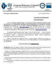 Og³oszenie - Kuchnia - Centrum Medyczne w Łańcucie