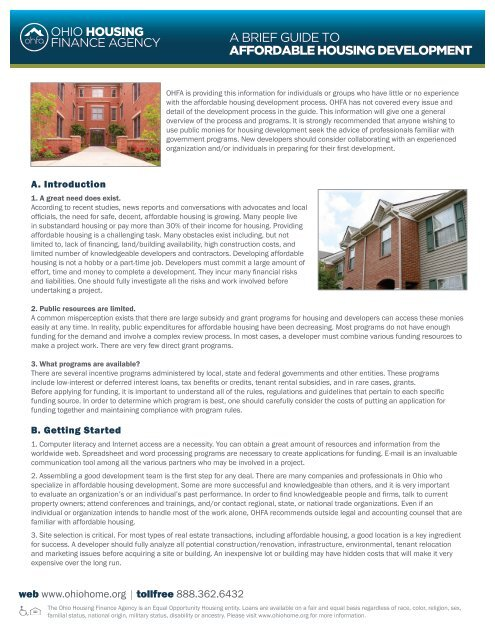 A Brief Guide to Affordable Housing Development - Ohio Housing