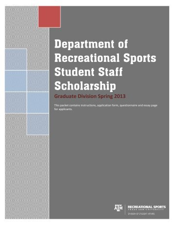 Student Staff Scholarship Application-Graduate Division - Rec Sports