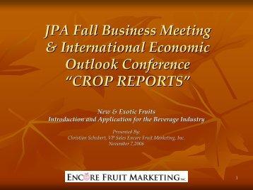 JPA Fall Business Meeting & International Economic Outlook ...