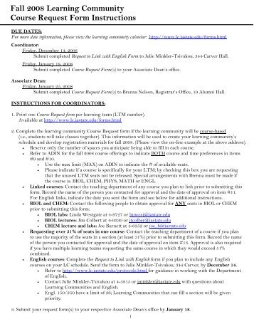Fall 2008 Learning Community Course Request Form Instructions