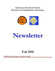 Fall 2010 - Division of Carbohydrate Chemistry - American Chemical ...