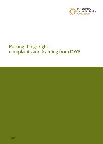 Putting things right: complaints and learning from DWP - the ...