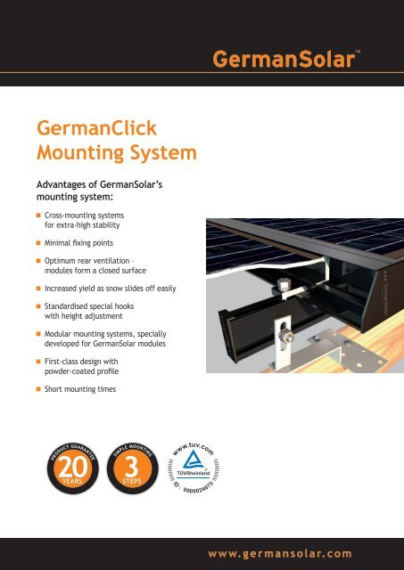 GermanClick Mounting System - German Solar