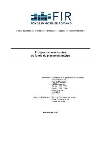 PROSPECTUS DÉCEMBRE 2012 - FIR - Fonds Immobilier Romand