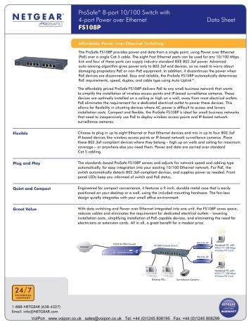 Netgear Prosafe 8-Port 10/100 Switch Datasheet (PDF)