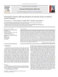Journal of Hazardous Materials Investigation of factors affecting ...