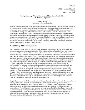 Foreign Language Policies Research and Educational Possibilities