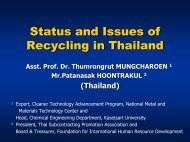 Status and Issues of Recycling in Thailand