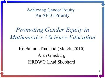Promoting Gender Equity in Mathematics / Science Education