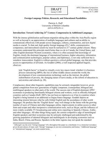 Foreign Language Policies, Research, and Educational Possibilities