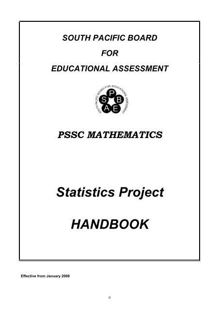 PSSC Maths Statistics Project Handbook eff08 pdf