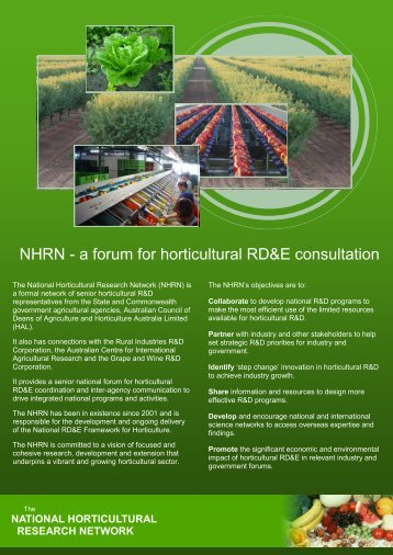 NHRN - a forum for horticultural RD&E consultation - Horticulture ...