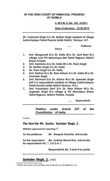 Surinder Singh, J. (oral) - High Court of Himachal Pradesh