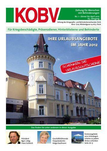 IHRE URLAUBSANGEBOTE IM JAHR 2012 - KOBV Steiermark