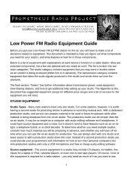 Low Power FM Radio Equipment Guide - Prometheus Radio Project