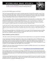 Low power FM (LPFM) supporters and friends, - Prometheus Radio ...