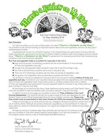 """""""Rainbow"""" Teacher's Guide & Curriculum - Produce for Better Health ..."""
