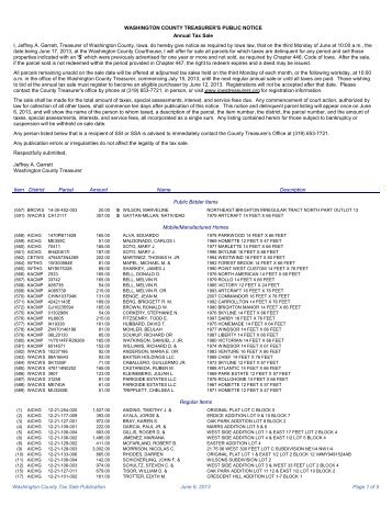 Tax Sale List - Washington County, Iowa