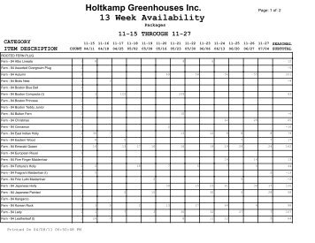 Holtkamp Greenhouses Inc. 13 Week Availability - Bill Moore & Co ...