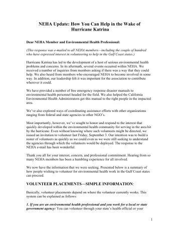 NEHA Update: How You Can Help in the Wake of Hurricane Katrina