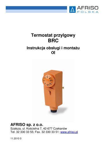 Termostat przylgowy BRC Instrukcja obsługi i montażu - Afriso