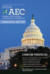 exhibitor prospectus - National Environmental Health Association