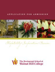Application for Admission - The Restaurant School at Walnut Hill ...